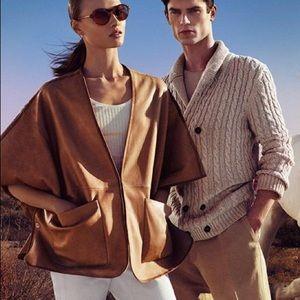 Massimo Dutti Sheep's Leather Cape/Cardigan NWT!
